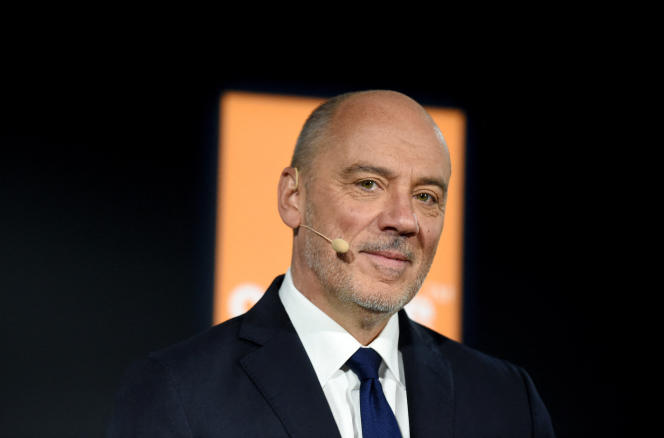 Stéphane Richard, PDG de l'opérateur de téléphonie mobile Orange, à Paris, le 13 février 2020.