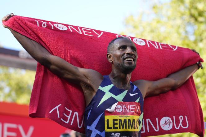 Ethiopian Sisse Lemma celebrates winning the London Marathon, UK, Sunday October 3, 2021.