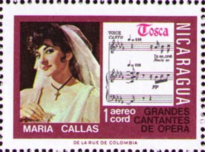 « Maria Callas», timbre du Nicaragua (1975).