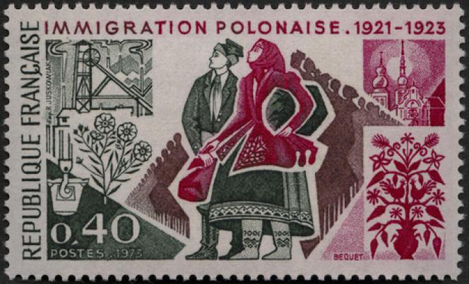 Timbre paru en 1973 sur l'immigration polonaise. Un timbre créé par Pierre Béquet (d'aprèsRaymond Juskowiak).