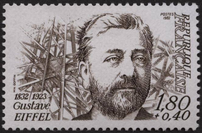 «Gustave Eiffel», dessiné et gravé par Marie-Noëlle Goffin, timbre paru en 1982.