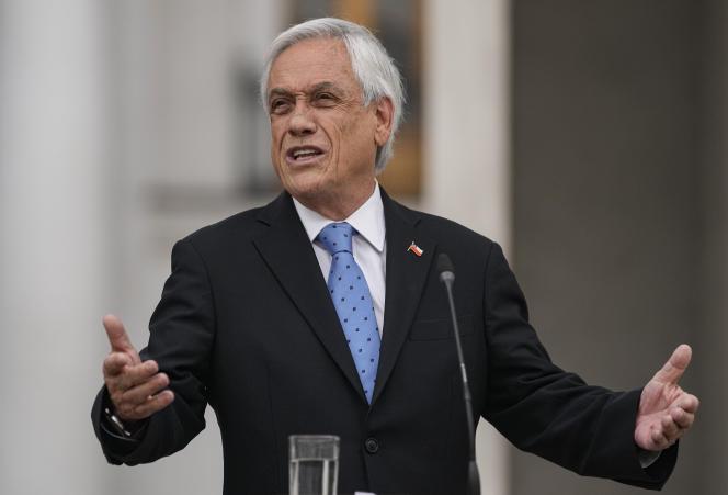 Le président chilien, Sebastian Piñera, au palais présidentiel de La Moneda, à Santiago, au Chili, le 4octobre 2021.