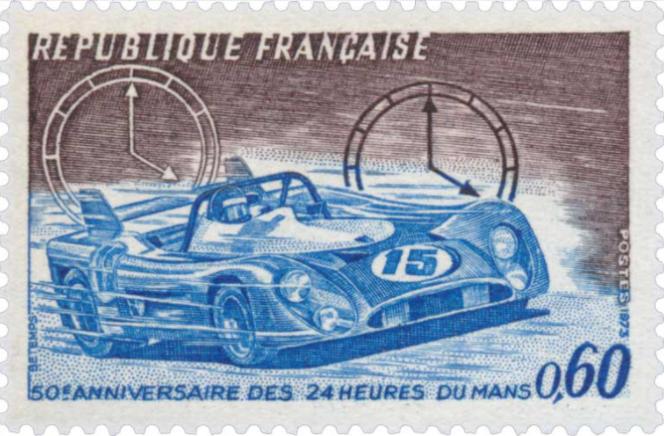 « 50e anniversaire des 24 Heures du Mans», paru en 1973. Dessin et gravure de Georges Bétemps.
