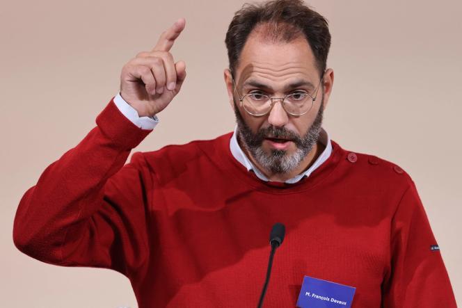 Francois Devaux, fondateur de l'association de victimes La Parole libérée, lors de la remise du rapport de la commission indépendante sur les abus sexuels dans l'Eglise catholique (Ciase), le 5 octobre, à Paris.