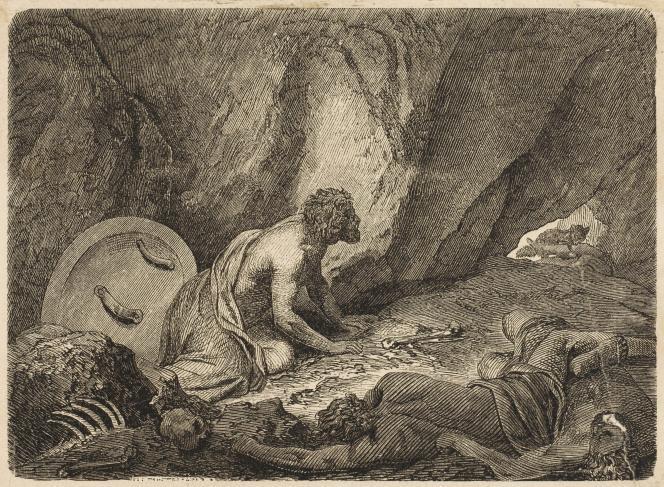 Aristomène se cachant dans une grotte, pendant la guerre du Péloponnèse (vers 670 av. J.-C.).