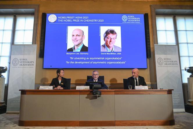 Benjamin List et David MacMillan ont reçu le prix Nobel de chimie, le 6 octobre 2021.