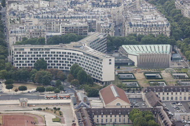 Vue aérienne du siège de l'Unesco, à Paris, le 15 juillet 2020.