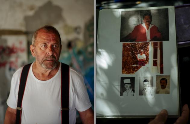 Michel Trouvain est aujourd'hui agé de 70 ans. A droite, des photos de lui avec, au centre, un cliché datant de quelques mois après sa sortie du bagne de la Légion.