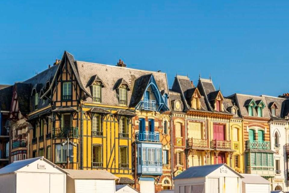 France, Somme, Mers les Bains, the villas of the Belle Epoque on the sea front, historic district born of the fashion for sea bathing from 1870, view from the beach at ebb tide (Photo by BOUILLAND Stéphane / Hemis.fr / hemis.fr / Hemis via AFP)