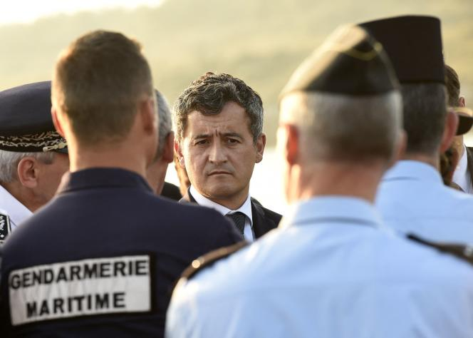 Home Secretary G�rald Darmanin meets the police during a visit to Loon-Plage, in the North, where migrants try to cross the Channel to reach the United Kingdom, October 9, 2021.