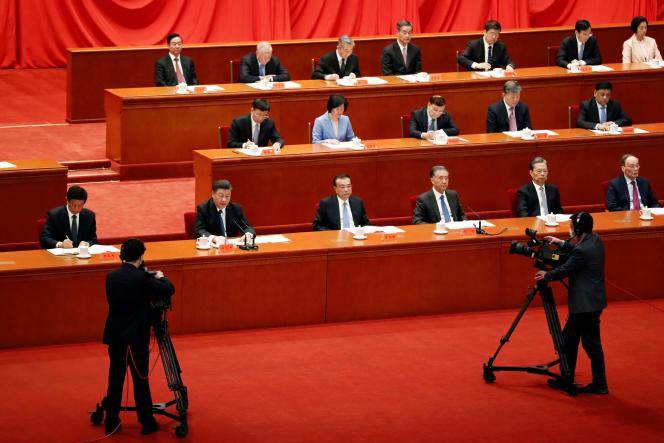 O presidente chinês Xi Jinping falou na comemoração do 110º aniversário da revolução de 1911 em 9 de outubro de 2021 no Palácio do Povo em Pequim.