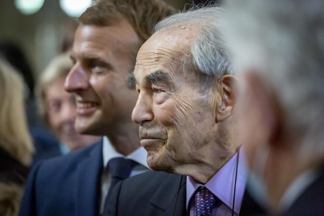 Robert Badinter et Emmanuel Macron, président de la République, lors de la commémoration de l'abolition de la peine de mort au Panthéon, samedi 9 octobre.