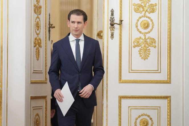 Sebastian Kurz shortly before his address in Vienna on Saturday, October 9, 2021.