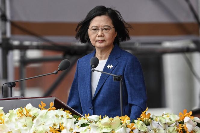 President Tsai Ing-wen addressed the Presidential Palace in Taipei on Sunday, October 10, 2021.