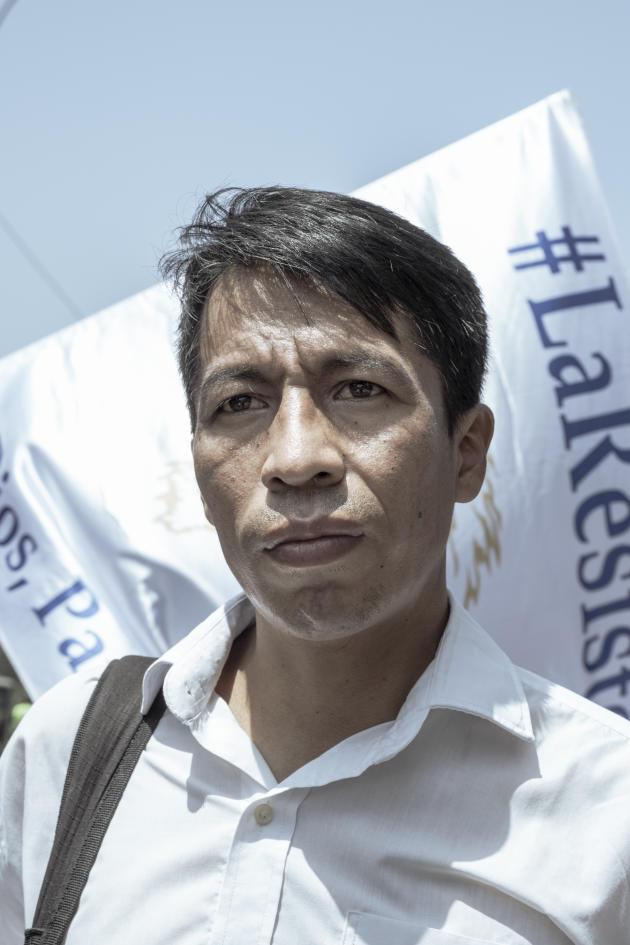 Jota Maelo, l'un des leaders du mouvement péruvien d'extrême droite La Resistencia, lors d'une manifestation contre le gouvernement de Pedro Castillo à Lima, au Pérou, le 30 septembre 2021.