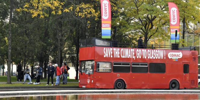 Manifestation pour le climat à Bruxelles, le 10 octobre 2021. La 26e conférence des Nations unies sur le climat (COP26) se tiendra du 31octobre au 12novembre à Glasgow, en Ecosse.