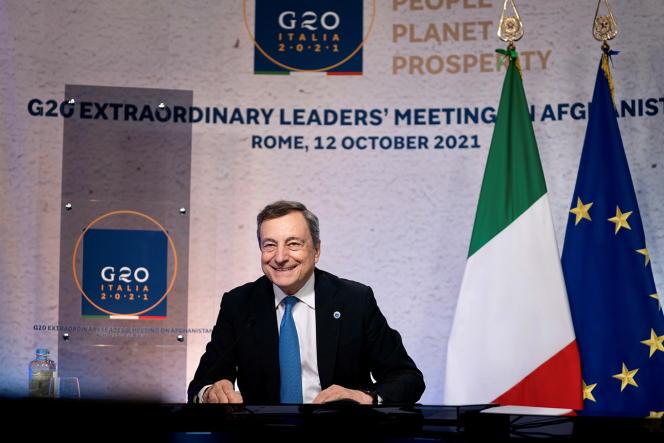 Le premier ministre italien Mario Draghi lors du G20, à Rome, le 12 octobre 2021.