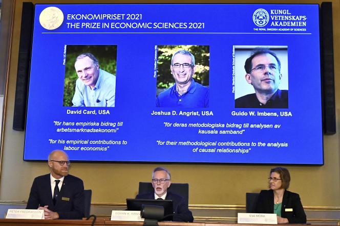 Présentation des lauréats du prix Nobel d'économie à Stockholm, le 11 octobre 2021.