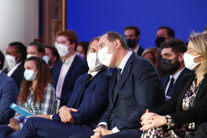 Emmanuel Macron and Jean Castex, at the Elysée, in Paris, October 12, 2021.