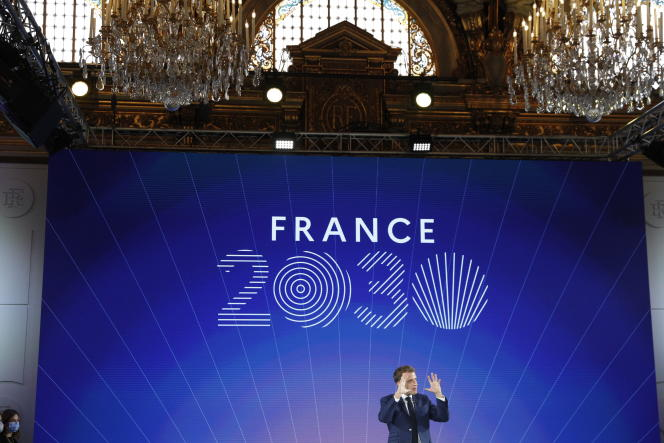 Emmanuel Macron during the presentation of the France 2030 plan, at the Elysee Palace, Tuesday, October 12.
