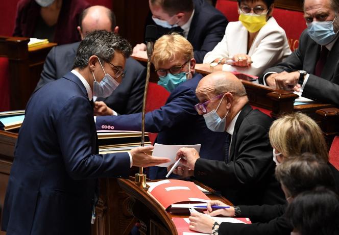 Gérald Darmanin lors de la séance de questions au gouvernement à l'Assemblée nationale, mardi 12 octobre 2021.