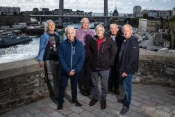Six des sept ouvriers retraités de la base de l'Ile-Longue, à Brest (Finistère), le 6 octobre 2021.