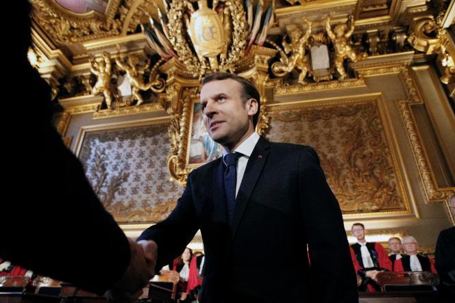 Le présidentde la République, Emmanuel Macron, lors d'une cérémonie à la Cour de cassation, au Palais de justice de Paris, en janvier 2018.