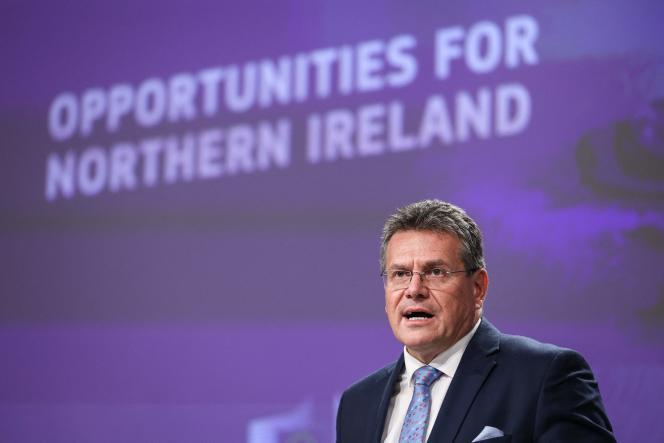 Le vice-président de la Commission européenne, Maros Sefcovic, lors d'une conférence à Bruxelles, mercredi 13octobre2021.