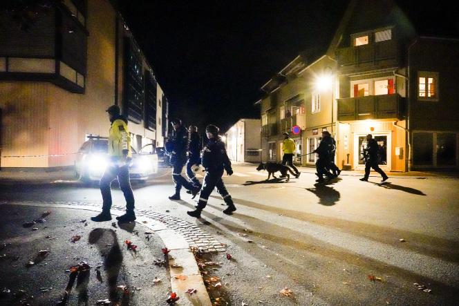 Des policiers norvégiens se rendent sur les lieux del'attaque meurtrière à Kongsberg, au sud-ouest d'Oslo, le 13octobre 2021.