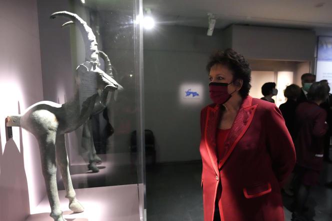 La ministre de la culture, Roselyne Bachelot,lors d'une exposition au musée Guimet, à Paris, le mercredi 13 octobre 2021.