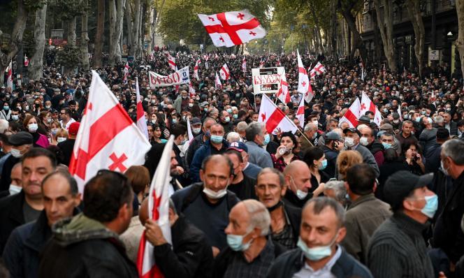 Lors d'un rassemblement à Tbilissi en soutien àMikheïl Saakachvili, en Géorgie, jeudi 14octobre2021.