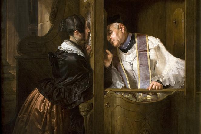 «La confession» (1838) deGiuseppe Molteni est un tableau exposé à la Gallerie di Piazza Scala, à Milan (Lombardie).