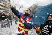 Lors d'une manifestation à Rouen (Seine-Maritime) pour défendre les emplois du site de la Chapelle-Darblay, le 17février2014.