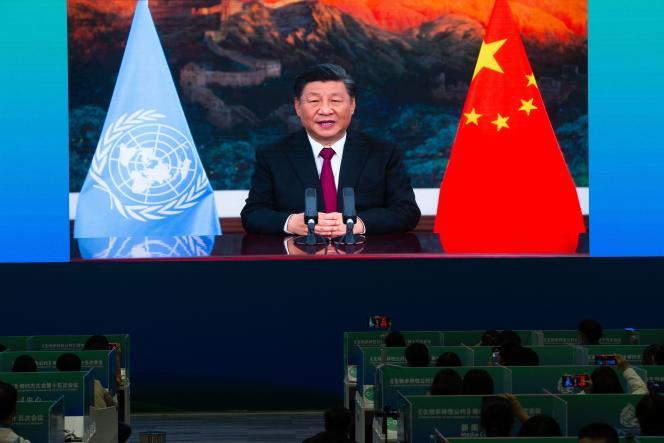 Le président Xi Jinping, à Kunming, dans la province du Yunnan, dans le sud-ouest de la Chine, le 12 octobre 2021.