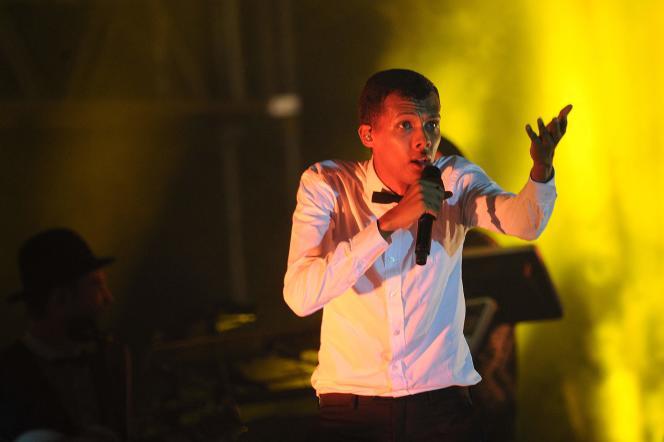 Le chanteur Stromae, lors d'un concert à Kigali, en octobre 2015.