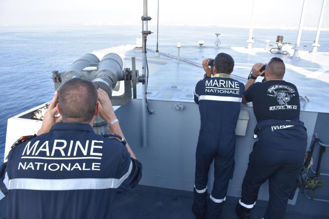 A bord de la frégate française «Aconit», au large de Chypre, le 29 octobre 2021.