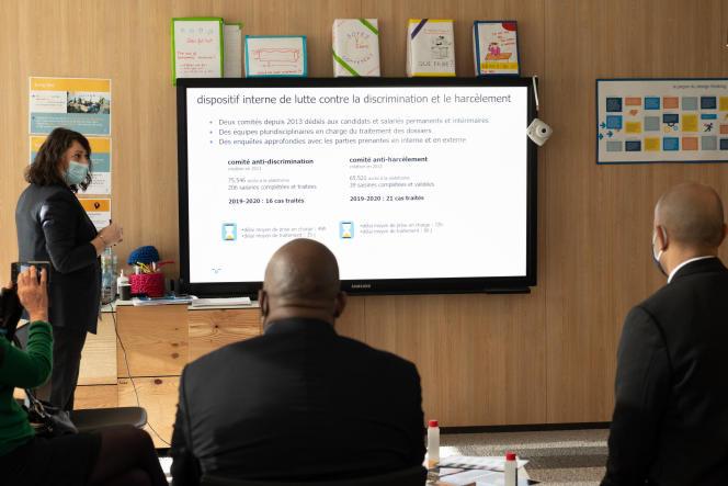 Au siège social de l'agence d'intérim Randstad, à Saint-Denis (Seine-Saint-Denis), le 4 décembre 2020.