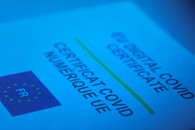 Un certificat numérique européen de vaccination contre le Covid,le 20 juillet 2021.