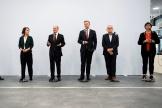 Les chefs des partis des Verts, du SPD et du FDP, après une réunion en vue d'une coalition gouvernementale, à Berlin, le 15 octobre 2021.