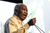 Laurent Gbagbo lors du congrès du Parti des peuples africains-Côte d'Ivoire (PPA-CI), à Abidjan, le 17octobre 2021.