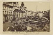 La piazza Navona, à Rome, vers 1865-1870.