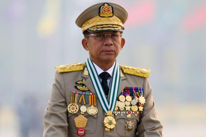 Le général Min Aung Hlaing, chef de la junte birmane,à Naypyidaw, en mars 2021.