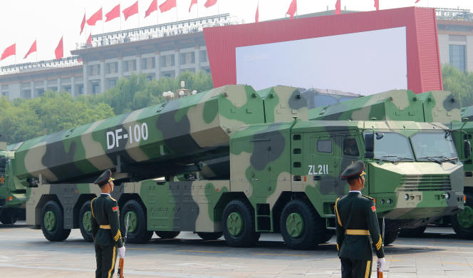 Military vehicles carrying hypersonic cruise missiles during the parade celebrating the 70th anniversary of the People's Republic of China at Tiananmen Square in Beijing on October 1, 2019.