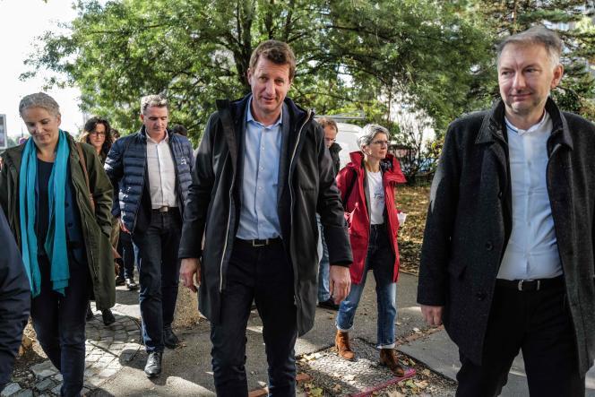 (De gauche à droite) Les membres d'EELV Delphine Batho, Eric Piolle, Yannick Jadot et Sandrine Rousseau, à Lyon, le 8 octobre 2021.