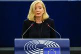 La médiatrice de l'Union européenne, Emily O'Reilly, au Parlement européen, à Strasbourg, le 9 juin 2021.