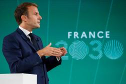 Le président de la République, Emmanuel Macron, présente son plan France 2030, au palais de l'Elysée, le 12 octobre 2021.