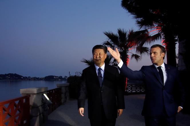 Emmanuel Macron accueille Xi Jinping pour un dîner à la Villa Kerylos, à Beaulieu-sur-Mer (Alpes-Maritimes), en mars 2019.