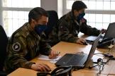 Des soldats françaisaffiliés au commandement de la cyberdéfenseComcyber, le 18 mars 2021 à Rennes.