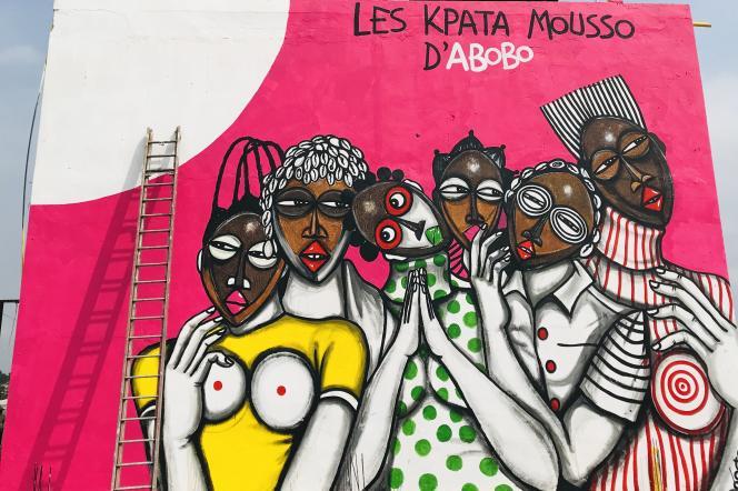 «Les Kpata mousso d'Abobo», de Peintre Obou, à Abidjan (Côte d'Ivoire).