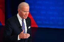 Joe Biden,lors d'un échange retransmis sur CNN avec des électeurs à Baltimore (Maryland), le 21 octobre 2021.